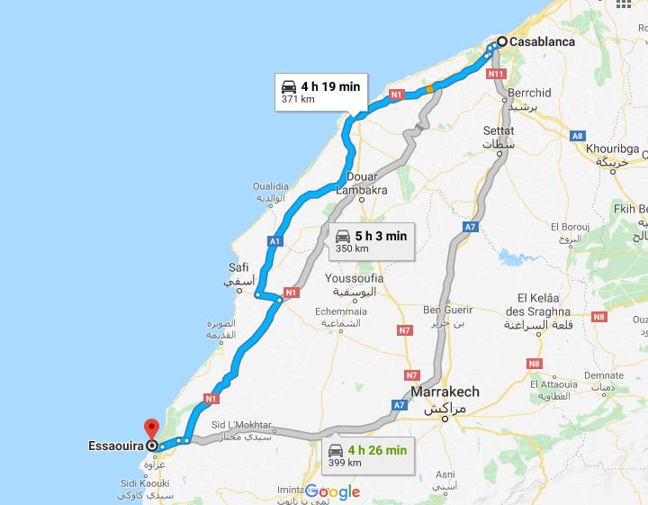 casablanca to essaouira distance