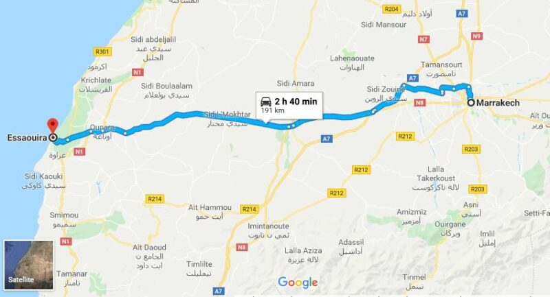 essaouira to marrakech distance